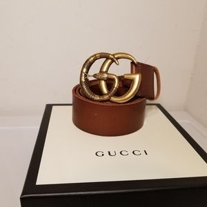 Gucci Snake Buckle Brown Leather